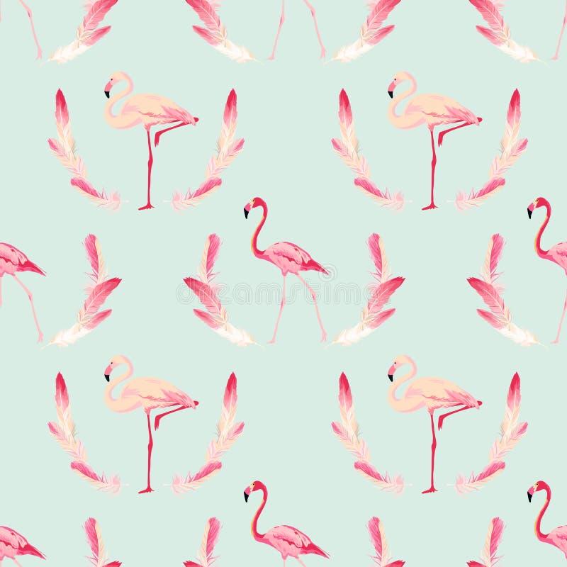 Υπόβαθρο πουλιών φλαμίγκο αναδρομικός άνευ ραφής προτύπων απεικόνιση αποθεμάτων