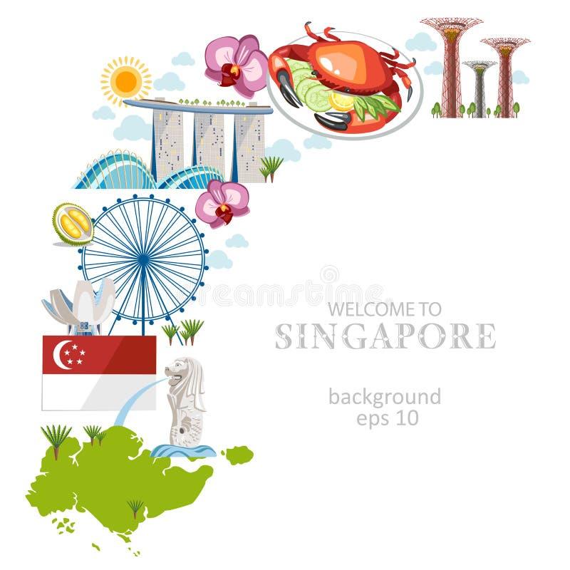 Υπόβαθρο πολιτισμού Σινγκαπούρης ταξιδιού απεικόνιση αποθεμάτων