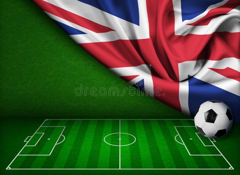 Υπόβαθρο ποδοσφαίρου ή ποδοσφαίρου με την Ηνωμένη σημαία απεικόνιση αποθεμάτων