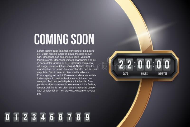 Υπόβαθρο πολυτέλειας που έρχονται σύντομα και χρονόμετρο αντίστροφης μέτρησης απεικόνιση αποθεμάτων