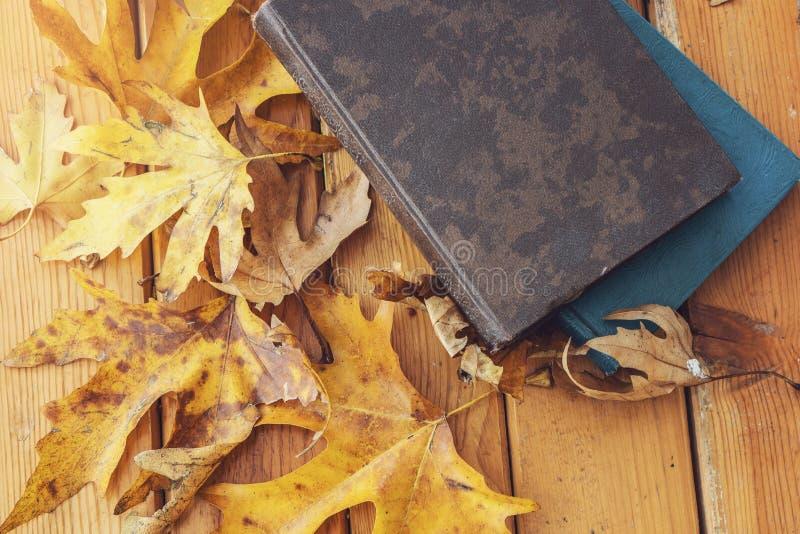 Υπόβαθρο πτώσης φθινοπώρου με τα φύλλα σφενδάμου και τα βιβλία στοκ εικόνα