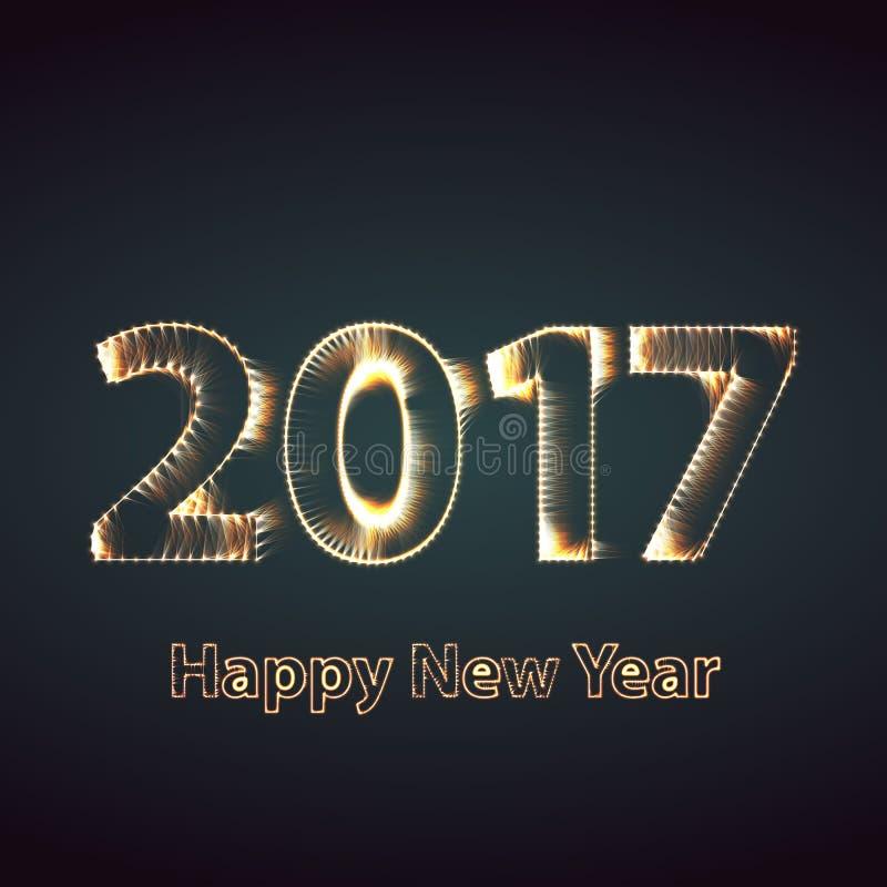 Υπόβαθρο πυροτεχνημάτων καλής χρονιάς 2017 Ευχετήρια κάρτα με το μόριο επίσης corel σύρετε το διάνυσμα απεικόνισης ελεύθερη απεικόνιση δικαιώματος
