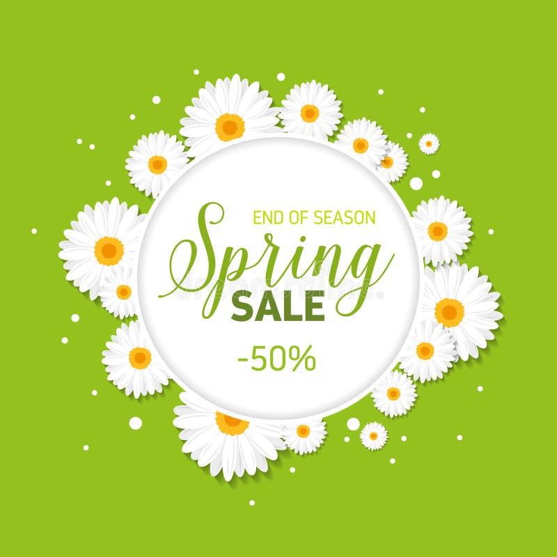 Υπόβαθρο πωλήσεων άνοιξη με τα λουλούδια ελεύθερη απεικόνιση δικαιώματος