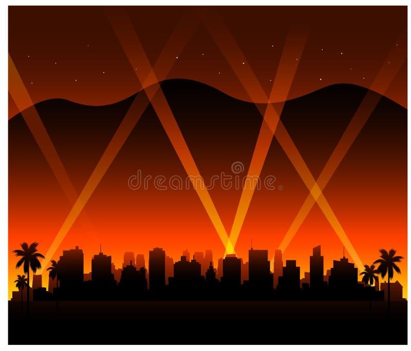 Υπόβαθρο πόλεων ηλιοβασιλέματος Καλιφόρνιας Hollywood απεικόνιση αποθεμάτων