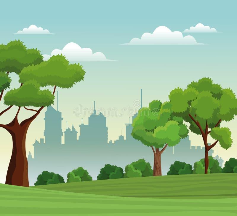 Υπόβαθρο πόλεων φύσης πάρκων τοπίων δέντρων απεικόνιση αποθεμάτων
