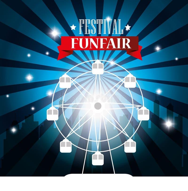 υπόβαθρο πόλεων ροδών ferris φεστιβάλ αφισών funfair ελεύθερη απεικόνιση δικαιώματος