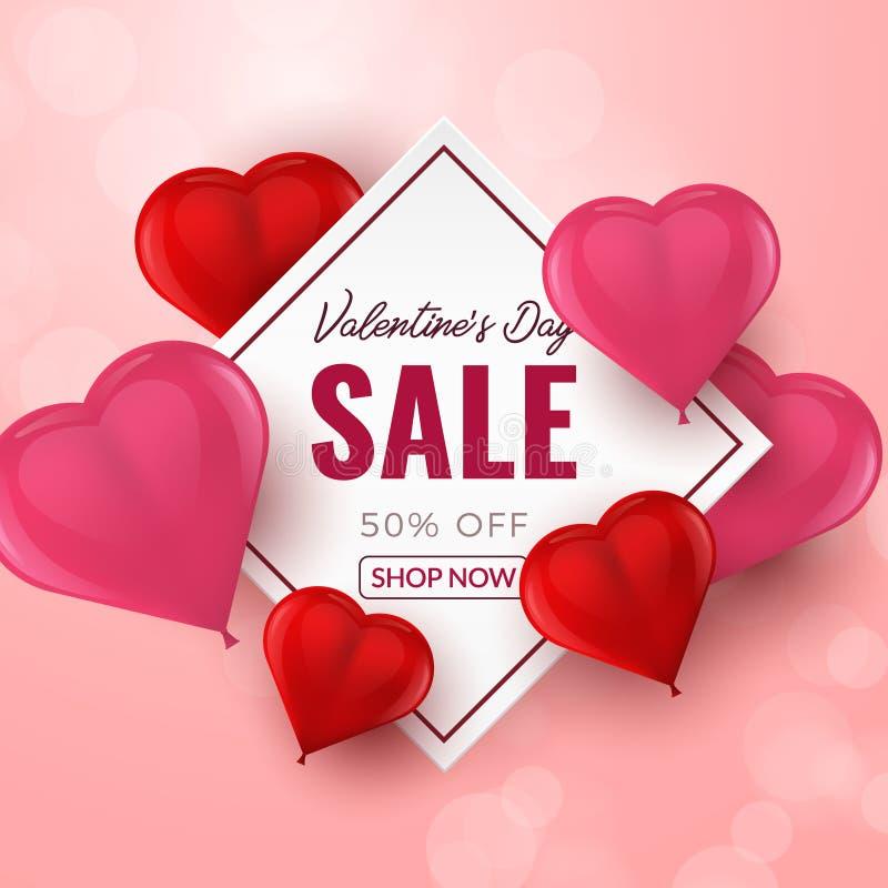 Υπόβαθρο πώλησης ημέρας βαλεντίνων με τα κόκκινα και ρόδινα τρισδιάστατα διαμορφωμένα καρδιά μπαλόνια επίσης corel σύρετε το διάν διανυσματική απεικόνιση