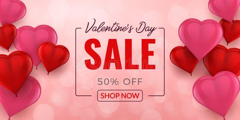 Υπόβαθρο πώλησης ημέρας βαλεντίνων με το τρισδιάστατο σχέδιο καρδιών μπαλονιών Ταπετσαρία, ιπτάμενα, πρόσκληση, αφίσες, φυλλάδιο, διανυσματική απεικόνιση