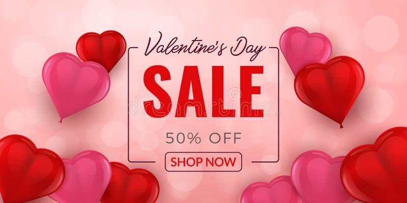 Υπόβαθρο πώλησης ημέρας βαλεντίνων με το τρισδιάστατο σχέδιο καρδιών μπαλονιών διανυσματική απεικόνιση