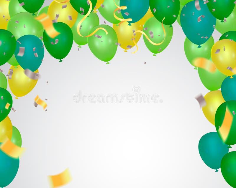 Υπόβαθρο πώλησης ημέρας Ρομαντική σύνθεση με τις καρδιές, τα μπαλόνια και τις χάντρες Διανυσματική απεικόνιση για τον ιστοχώρο, α διανυσματική απεικόνιση