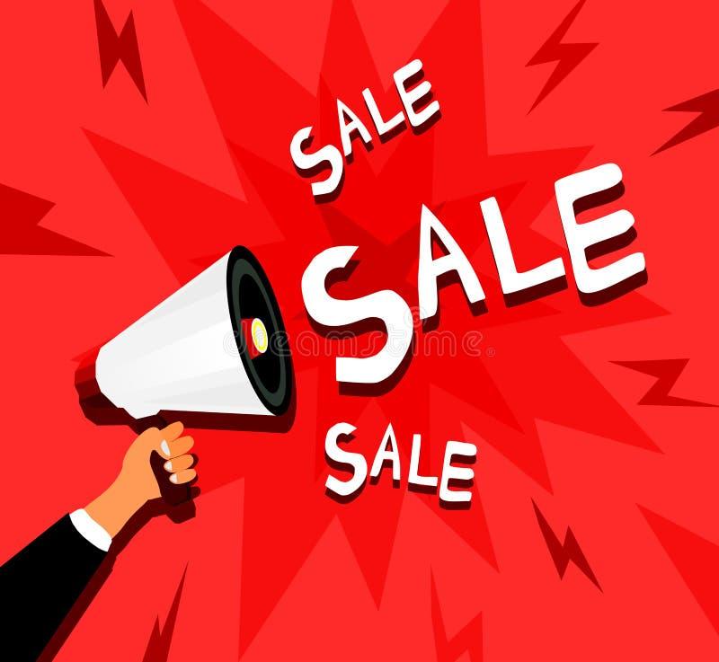 Υπόβαθρο πώλησης με το χέρι που κρατά megaphone ελεύθερη απεικόνιση δικαιώματος