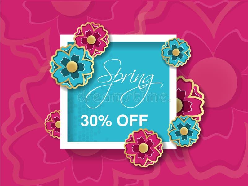 Υπόβαθρο πώλησης άνοιξη με το ζωηρόχρωμο λουλούδι Ρόδινο μπλε πρότυπο σχεδιαγράμματος Έκπτωση καρτών, εμβλημάτων, ιπτάμενων, αφισ διανυσματική απεικόνιση