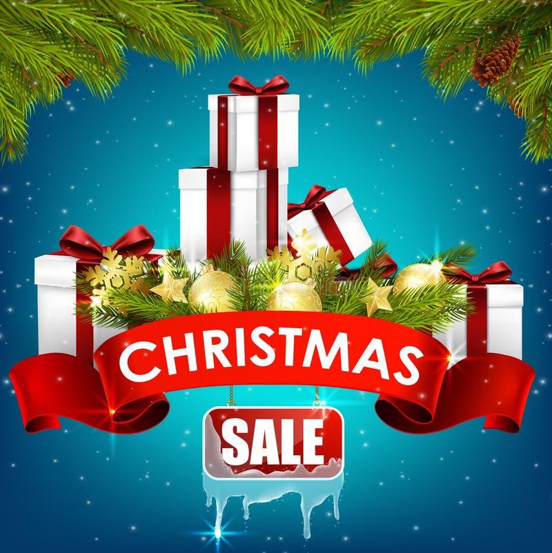 Υπόβαθρο πώλησης Χριστουγέννων με τα κιβώτια δώρων, τις χρυσές σφαίρες, το δέντρο πεύκων και τη ρεαλιστική κορδέλλα ελεύθερη απεικόνιση δικαιώματος