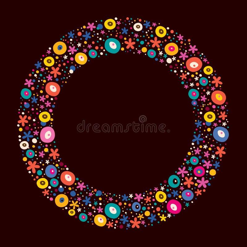Υπόβαθρο πλαισίων κύκλων φύσης λουλουδιών διανυσματική απεικόνιση