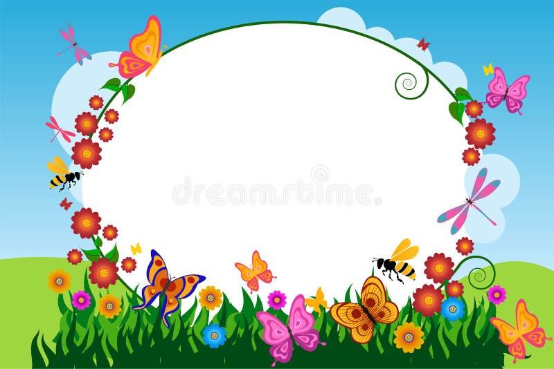 Υπόβαθρο πλαισίων λουλουδιών πεταλούδων απεικόνιση αποθεμάτων