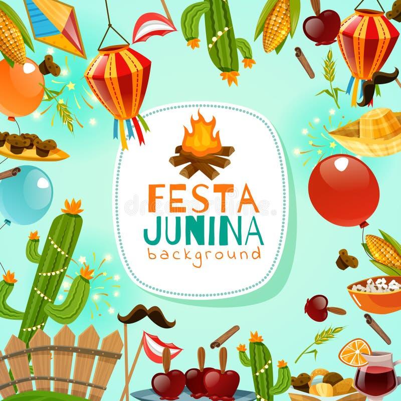 Υπόβαθρο πλαισίων Junina Festa διανυσματική απεικόνιση