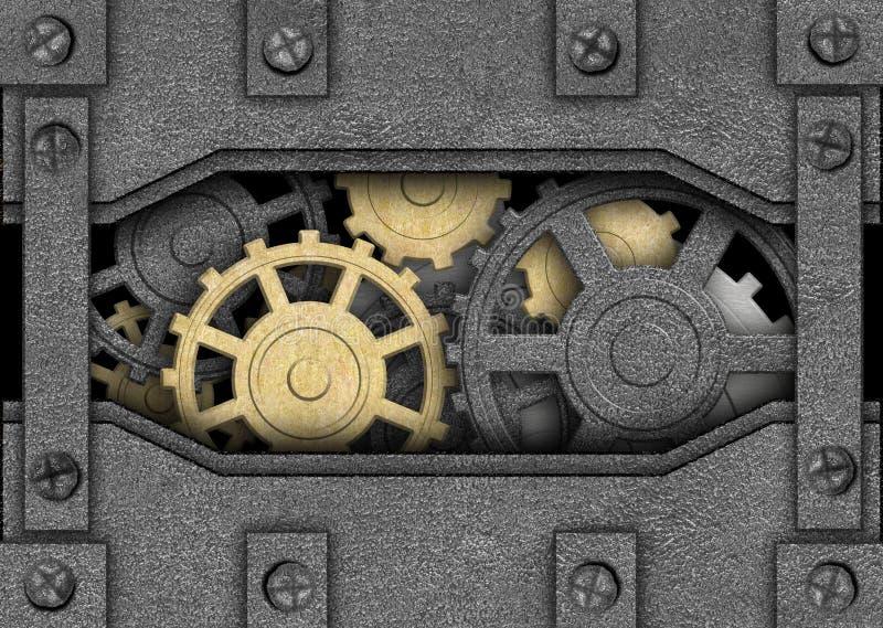Υπόβαθρο σιδήρου με τα εργαλεία μετάλλων, αρχαίος μηχανισμός απεικόνιση αποθεμάτων