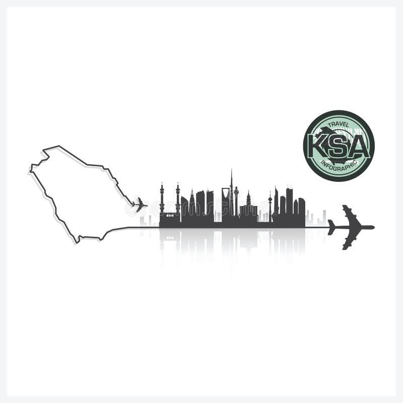 Υπόβαθρο σκιαγραφιών κτηρίων οριζόντων της Σαουδικής Αραβίας διανυσματική απεικόνιση