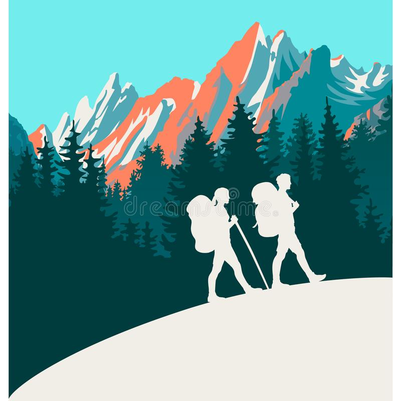 Υπόβαθρο σκιαγραφιών πεζοπορώ Mountaine απεικόνιση αποθεμάτων