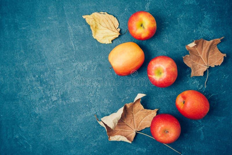 Υπόβαθρο συγκομιδών φθινοπώρου με τα κόκκινα μήλα και τα φύλλα πτώσης πέρα από τον πίνακα r στοκ εικόνες