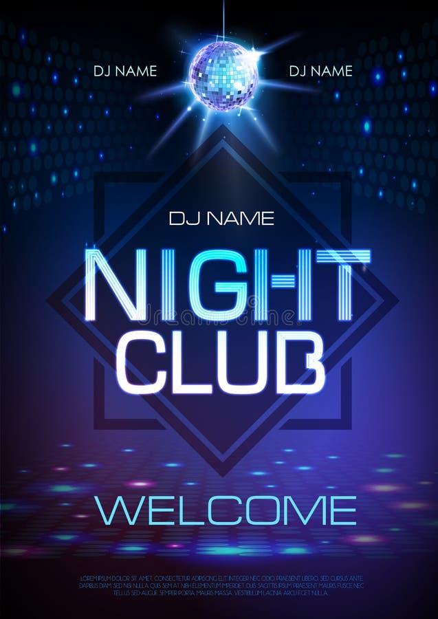 Υπόβαθρο σφαιρών Disco Αφίσα λεσχών νύχτας σημαδιών νέου διανυσματική απεικόνιση