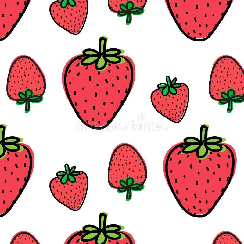 Υπόβαθρο σχεδίων φρούτων φραουλών διανυσματική απεικόνιση