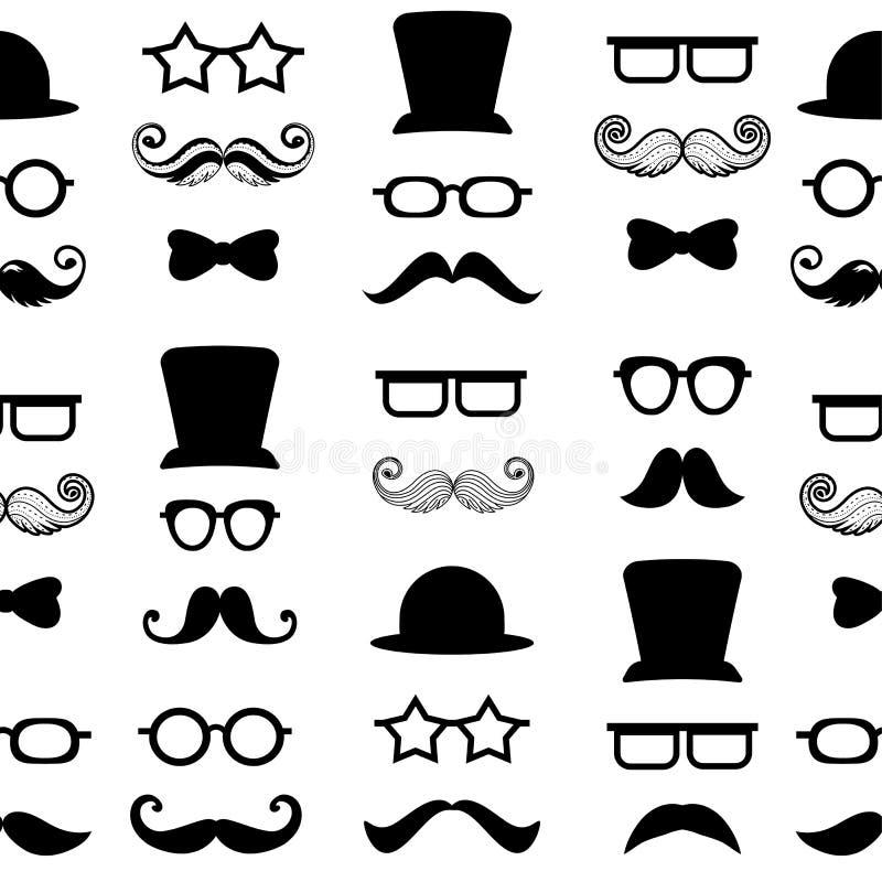 Υπόβαθρο σχεδίων Moustache mustache διανυσματικό άνευ ραφής hipster διανυσματική απεικόνιση