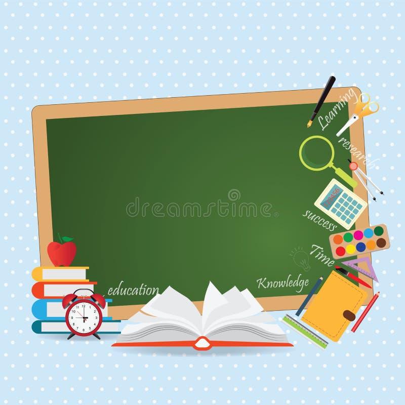 Υπόβαθρο σχεδίου εκπαίδευσης με το ανοικτό βιβλίο διανυσματική απεικόνιση