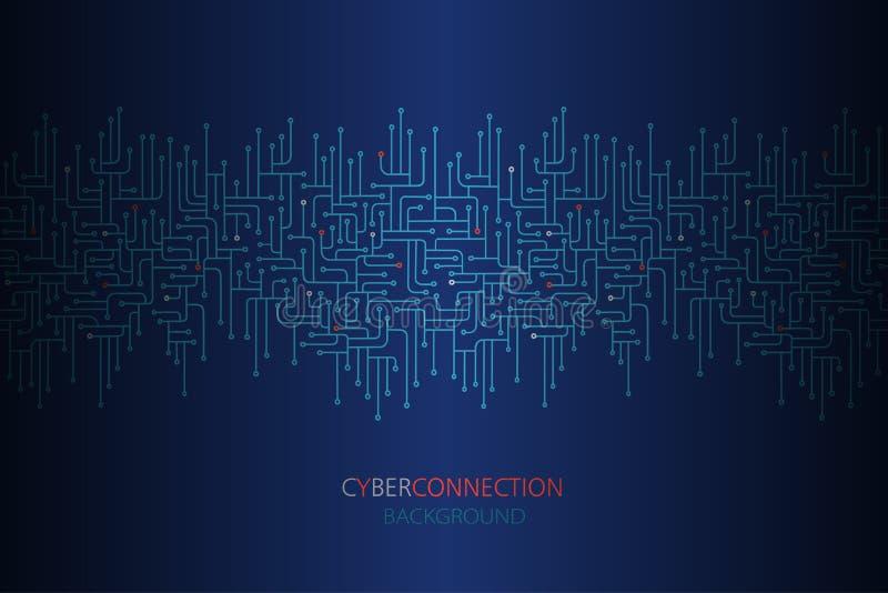 Υπόβαθρο σύνδεσης Cyber με τα ηλεκτρονικά άνευ ραφής σύνορα κυκλωμάτων στοκ εικόνες
