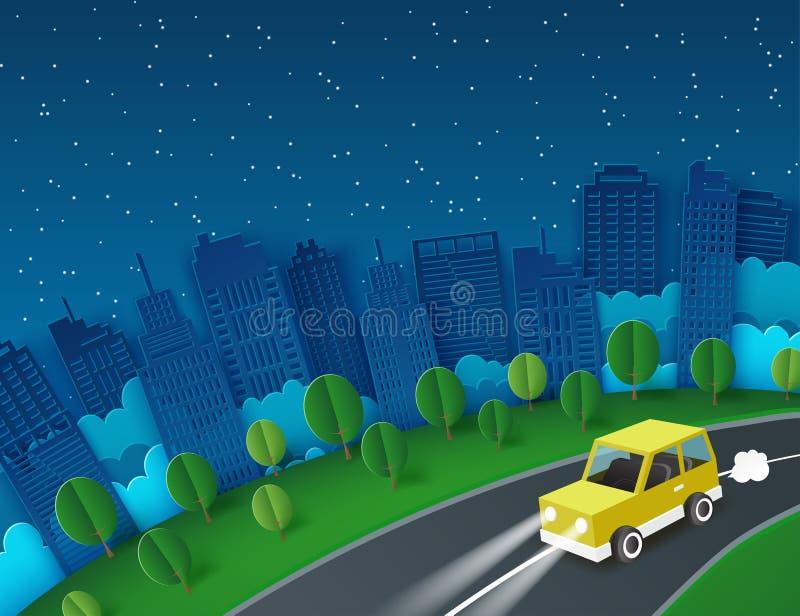 Υπόβαθρο τέχνης εγγράφου με την κίτρινη διαφυγή αυτοκινήτων από την πόλη νύχτας διανυσματική απεικόνιση