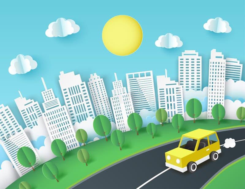 Υπόβαθρο τέχνης εγγράφου με την κίτρινη διαφυγή αυτοκινήτων από την πόλη ελεύθερη απεικόνιση δικαιώματος