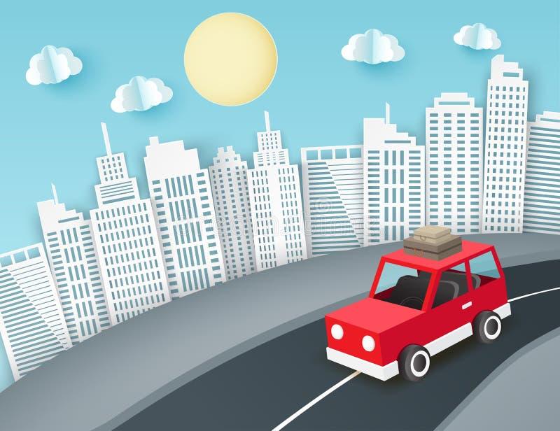 Υπόβαθρο τέχνης εγγράφου με την κόκκινη διαφυγή αυτοκινήτων από την πόλη απεικόνιση αποθεμάτων