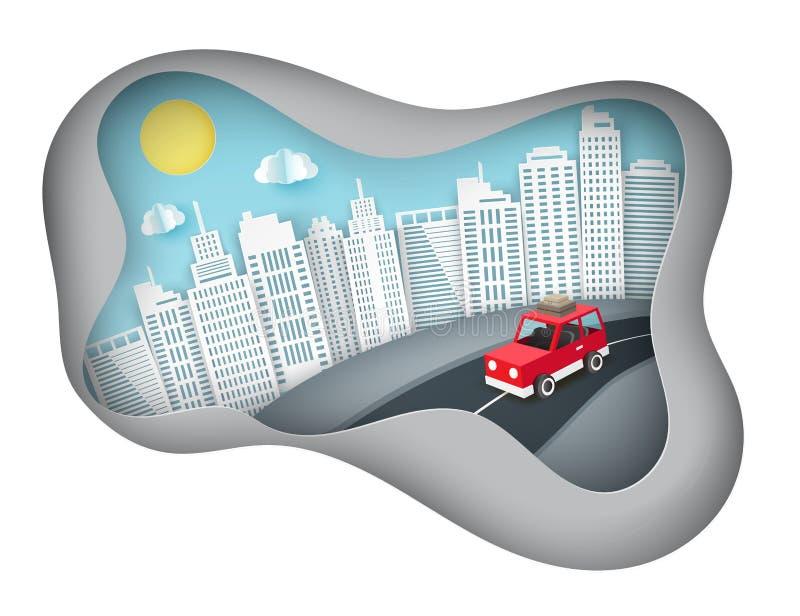 Υπόβαθρο τέχνης εγγράφου με την κόκκινη διαφυγή αυτοκινήτων από την πόλη διανυσματική απεικόνιση