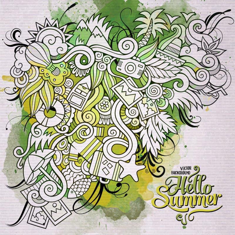 Υπόβαθρο τέχνης watercolor θερινών doodles στοιχείων απεικόνιση αποθεμάτων