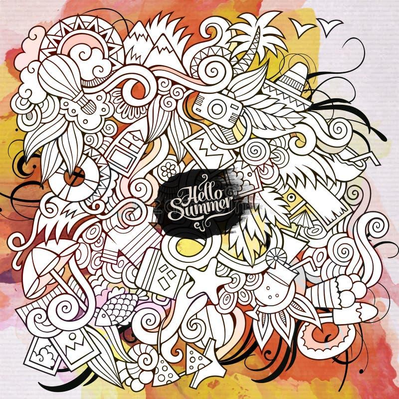 Υπόβαθρο τέχνης watercolor θερινών doodles στοιχείων ελεύθερη απεικόνιση δικαιώματος