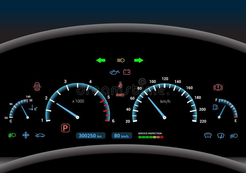 Υπόβαθρο ταμπλό αυτοκινήτων διανυσματική απεικόνιση