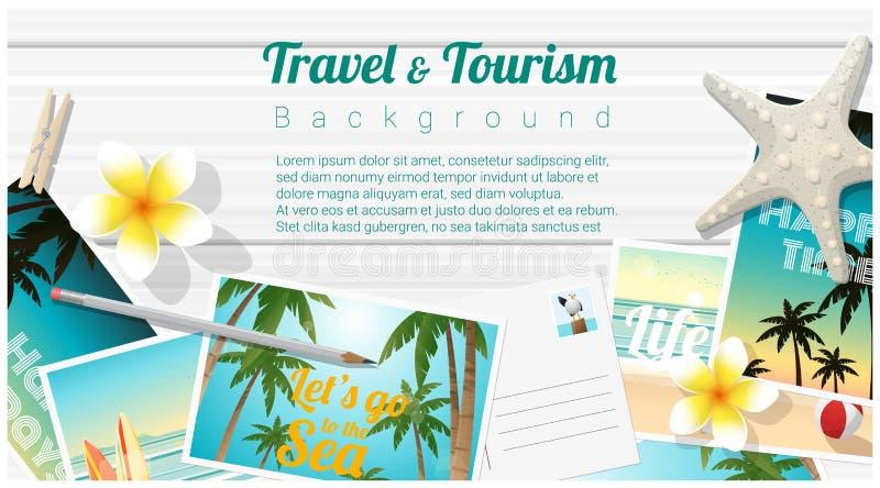 Υπόβαθρο ταξιδιού και τουρισμού με τις τροπικές κάρτες παραλιών στον ξύλινο πίνακα διανυσματική απεικόνιση