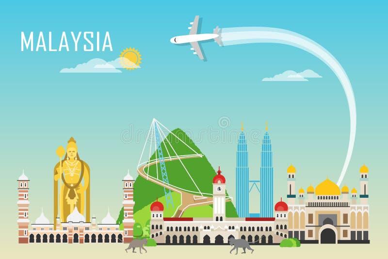 Υπόβαθρο ταξιδιού με τα ορόσημα της Μαλαισίας διανυσματική απεικόνιση