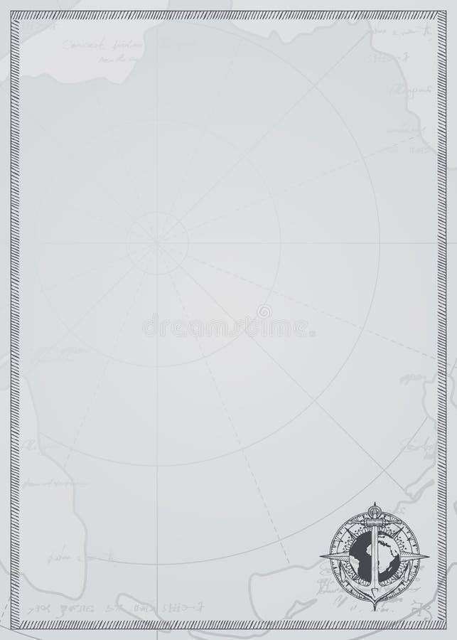 Υπόβαθρο ταξιδιού με την άγκυρα, τη σφαίρα και τον παλαιό χάρτη απεικόνιση αποθεμάτων