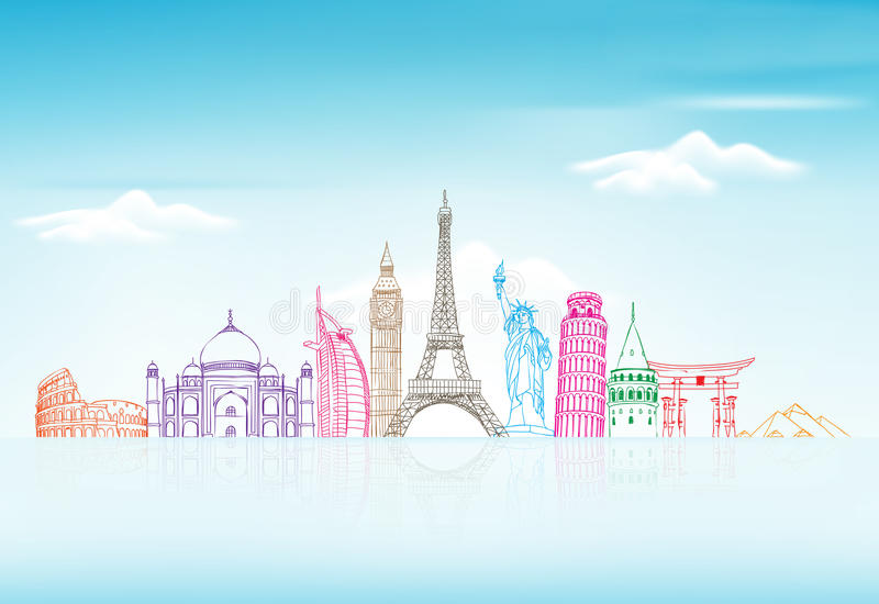 Υπόβαθρο ταξιδιού και τουρισμού με τα διάσημα παγκόσμια ορόσημα απεικόνιση αποθεμάτων