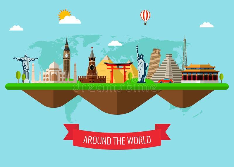 Υπόβαθρο ταξιδιού και τουρισμού με τα διάσημα παγκόσμια ορόσημα διάνυσμα ελεύθερη απεικόνιση δικαιώματος