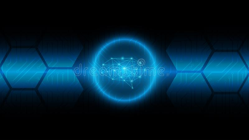 Υπόβαθρο τεχνολογίας εγκεφάλου Cyber στον μπλε πίνακα κυκλωμάτων, σύγχρονο διανυσματική απεικόνιση