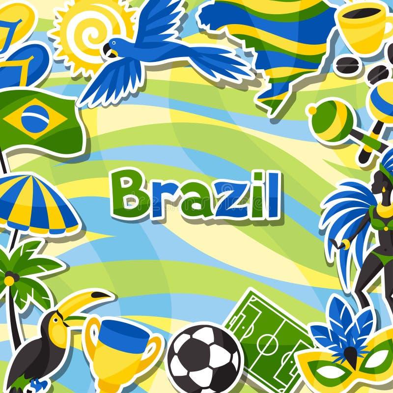 Download Υπόβαθρο της Βραζιλίας με τα αντικείμενα αυτοκόλλητων ετικεττών και Διανυσματική απεικόνιση - εικονογραφία από parasol, macaw: 62720445