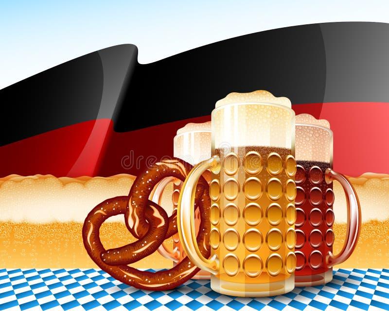 Υπόβαθρο της Γερμανίας σημαιών αφρού ξανθού γερμανικού ζύού γυαλιού μπύρας Oktoberfest διανυσματική απεικόνιση