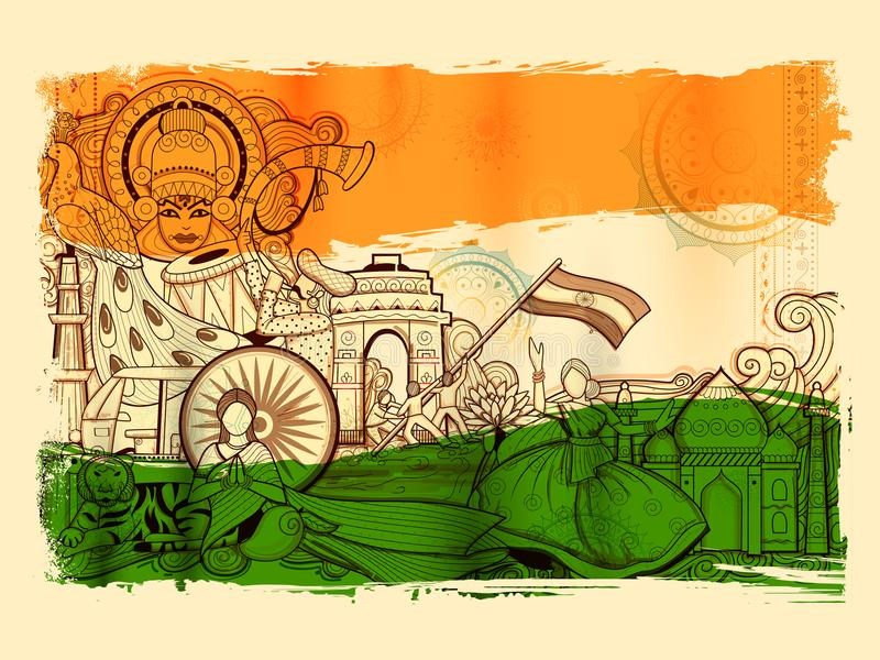 Υπόβαθρο της Ινδίας που παρουσιάζει τον απίστευτους πολιτισμό και ποικιλομορφία του με το μνημείο, το χορό και το φεστιβάλ ελεύθερη απεικόνιση δικαιώματος
