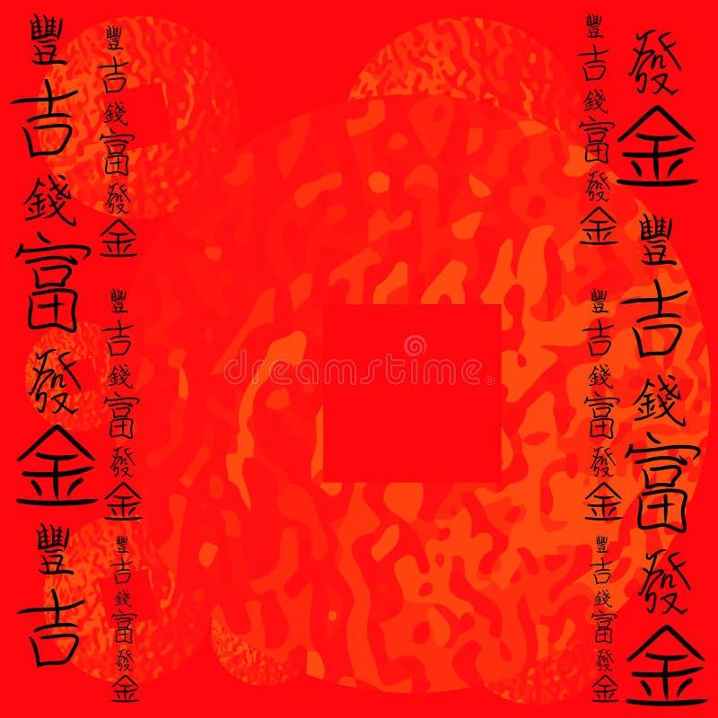 Υπόβαθρο της Κίνας με Hieroglyphs πλούτου απεικόνιση αποθεμάτων