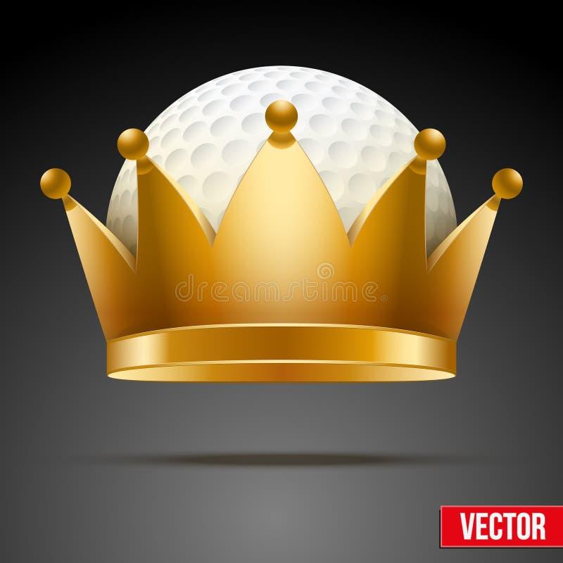 Υπόβαθρο της σφαίρας γκολφ με τη βασιλική κορώνα απεικόνιση αποθεμάτων