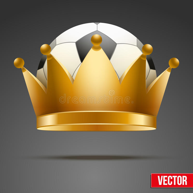Υπόβαθρο της σφαίρας ποδοσφαίρου με τη βασιλική κορώνα διανυσματική απεικόνιση