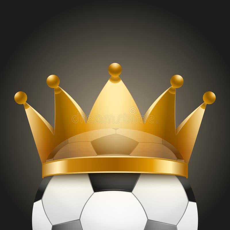 Υπόβαθρο της σφαίρας ποδοσφαίρου με τη βασιλική κορώνα απεικόνιση αποθεμάτων