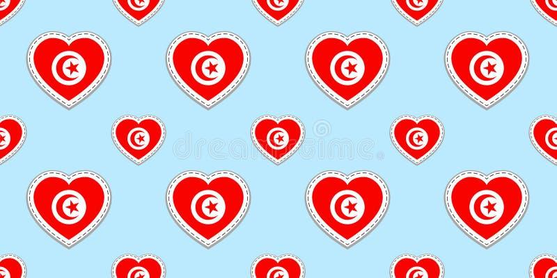 Υπόβαθρο της Τυνησίας Τυνησιακό άνευ ραφής σχέδιο σημαιών Διανυσματικά stikers Σύμβολα καρδιών αγάπης Καλή επιλογή για τις αθλητι απεικόνιση αποθεμάτων
